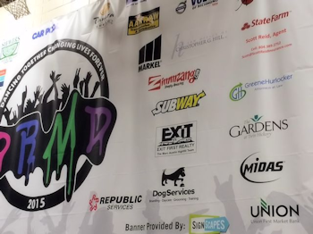 Sponsor signage at the Deep Run High Dance Marathon