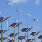 wind turbines and solar arrays