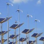 wind turbines and solar arrays